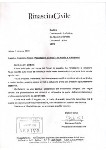 Lettera di trasmissione al Commissario